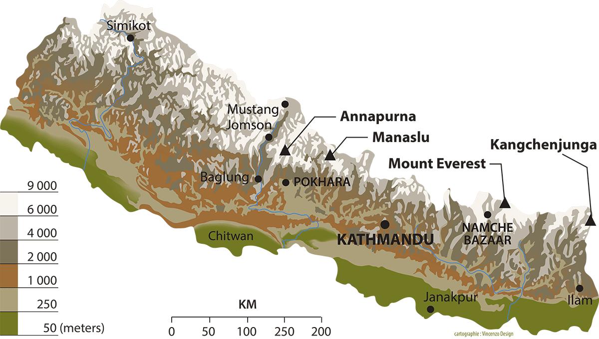Carte du Népal - Trek